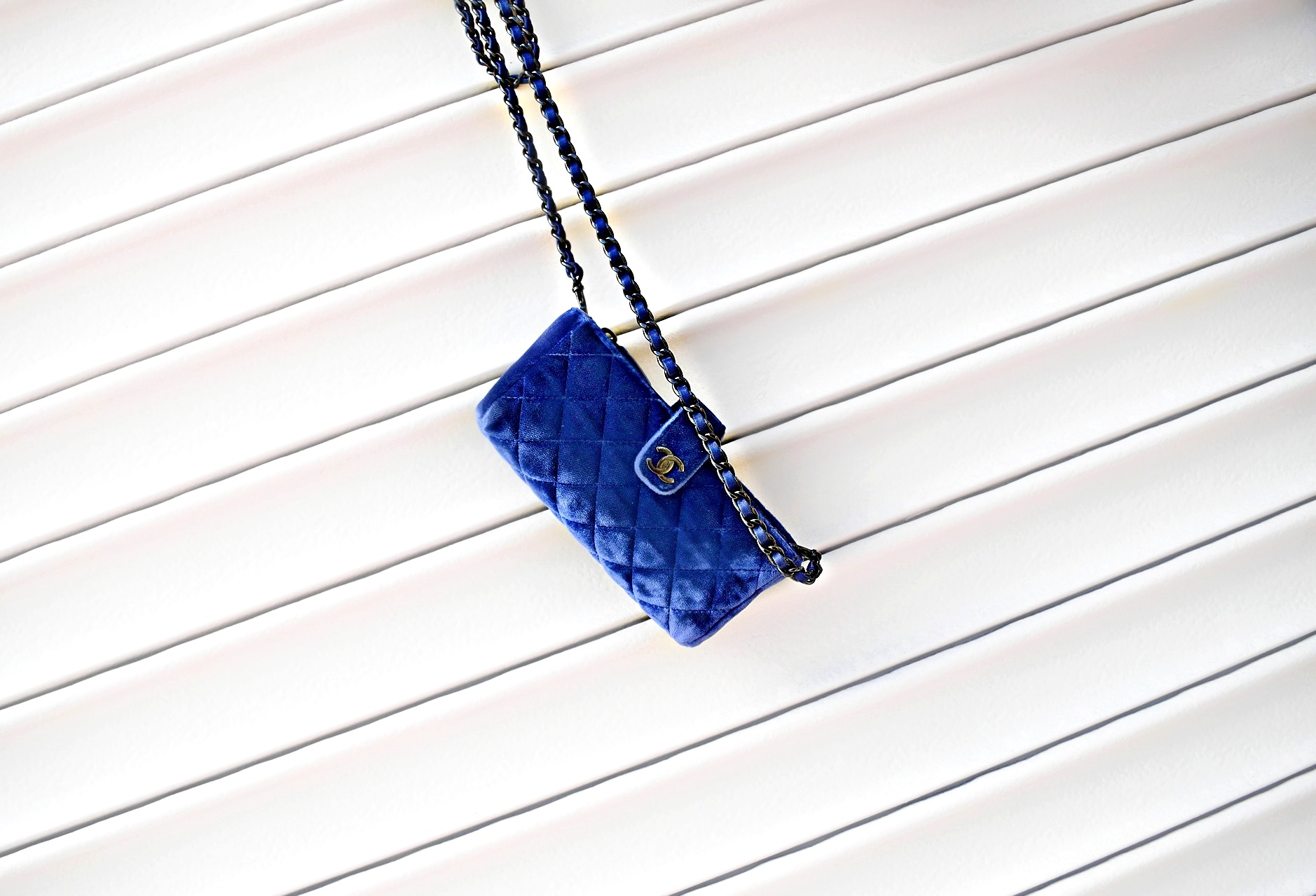 Blue Velvet Chanel Wallet on Chain Bag, Spring/Summer Street Style: To Style, With Love
