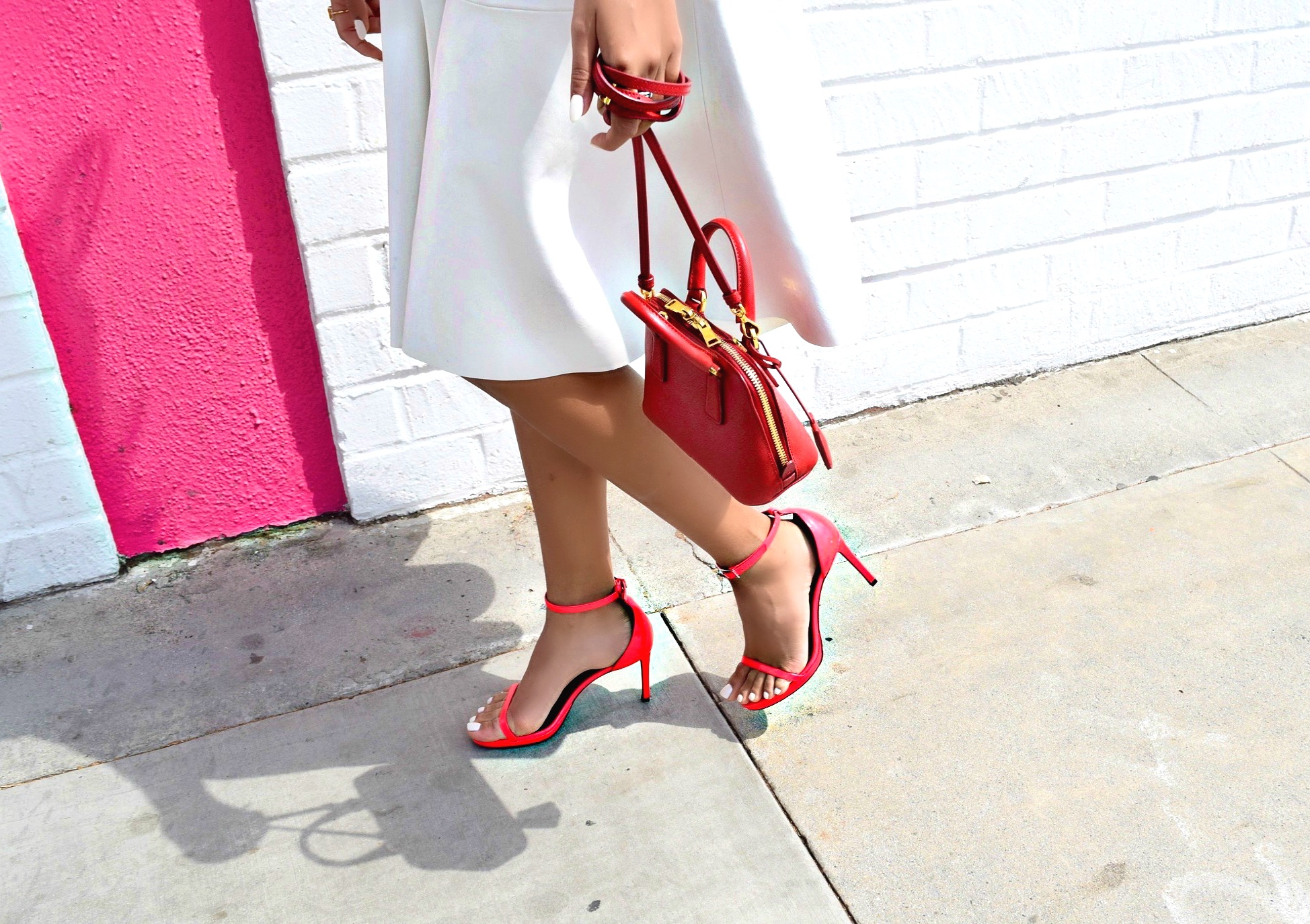 Saint Laurent Sandals and Red Prada Crossbody Bag: To Style, With Love