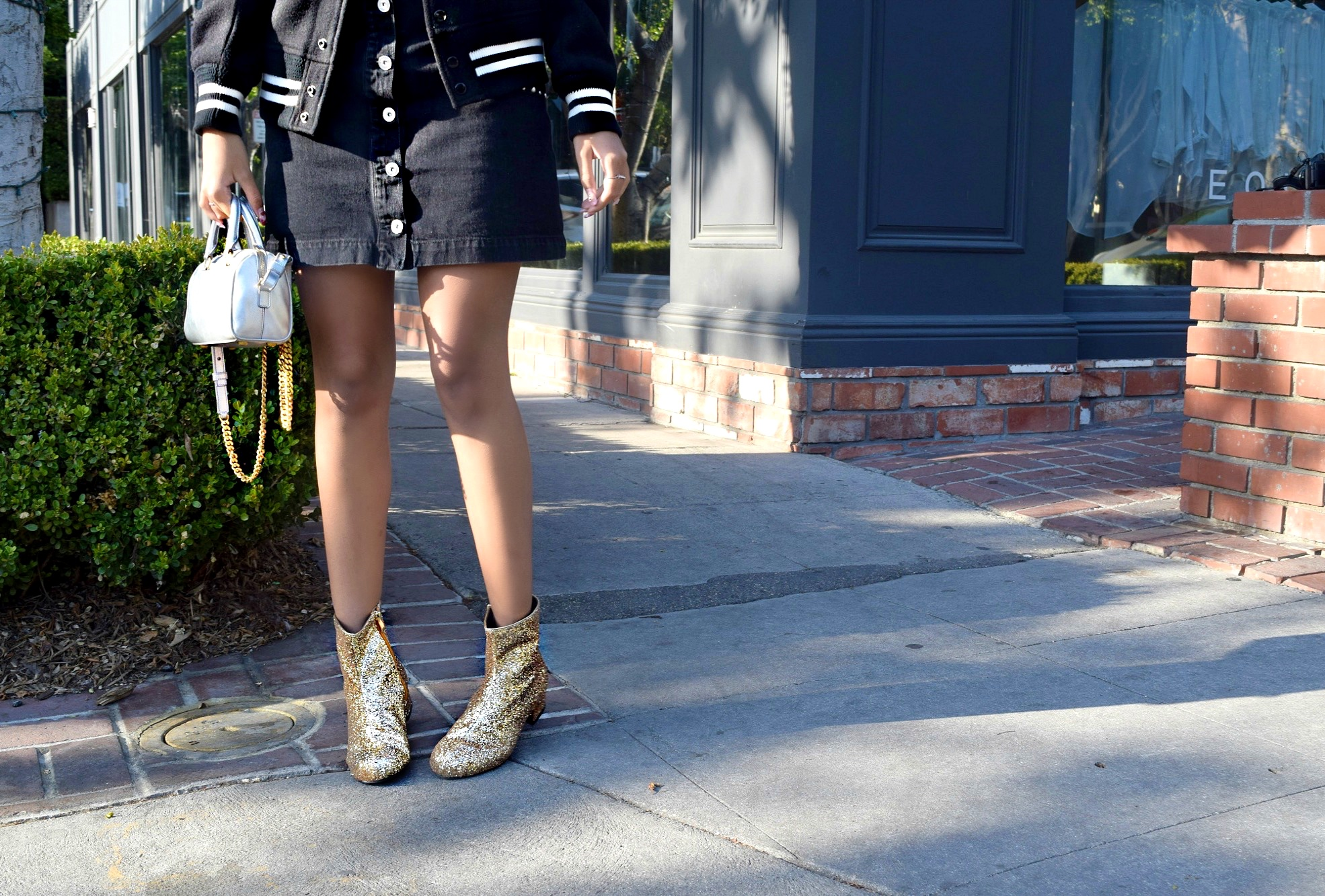 YSL Bomber Jacket & Gold Booties, Los Angeles Spring/Summer Street Style: To Style, With Love