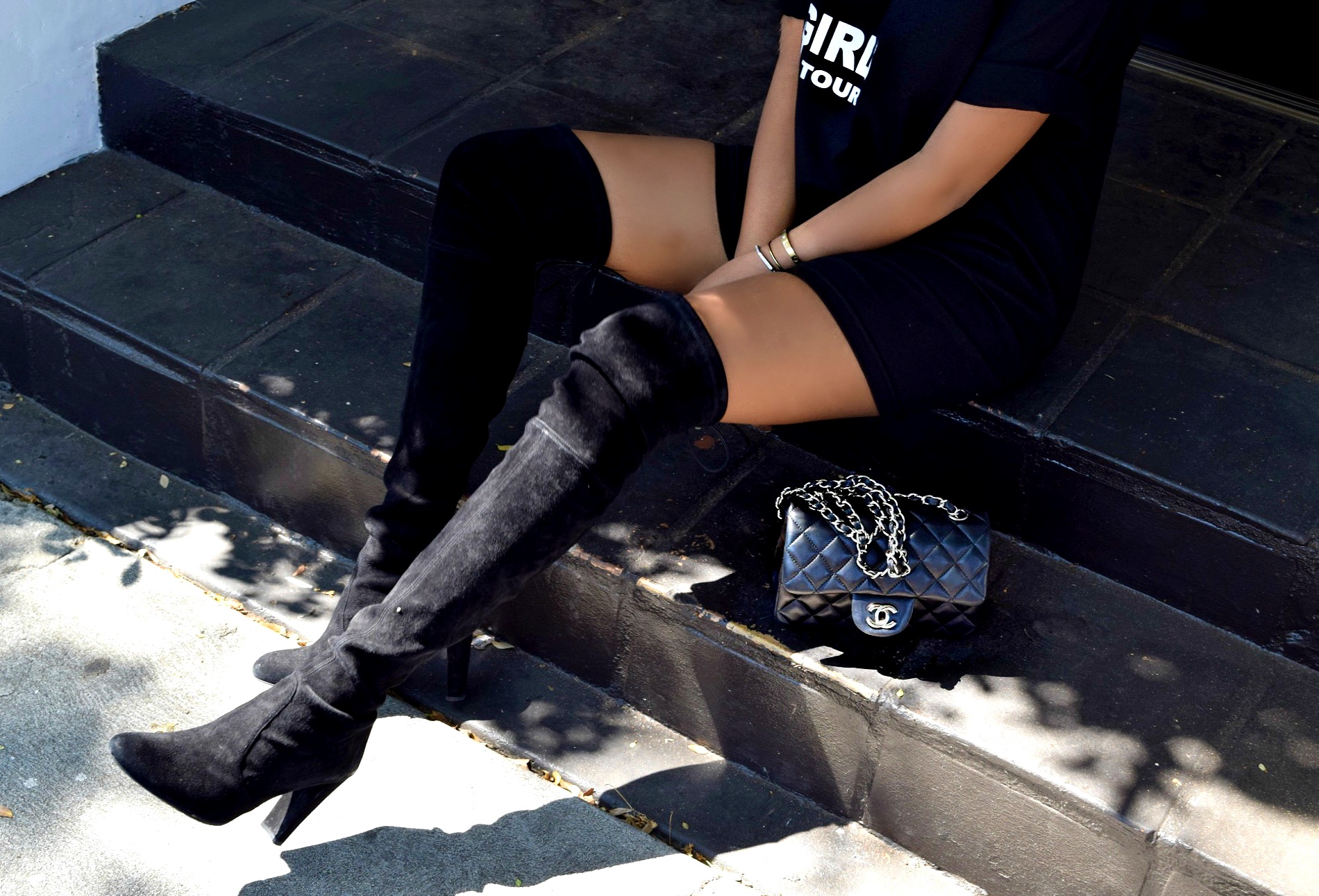 Stuart Weitzman Thigh High Boots & Classic Black Chanel Bag Details: To Style, With Love