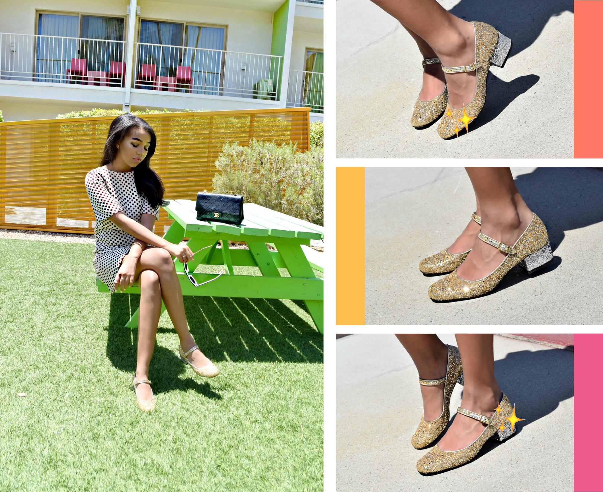 Saint Laurent Glitter Mary Janes Palm Springs Style: To Style, With Love