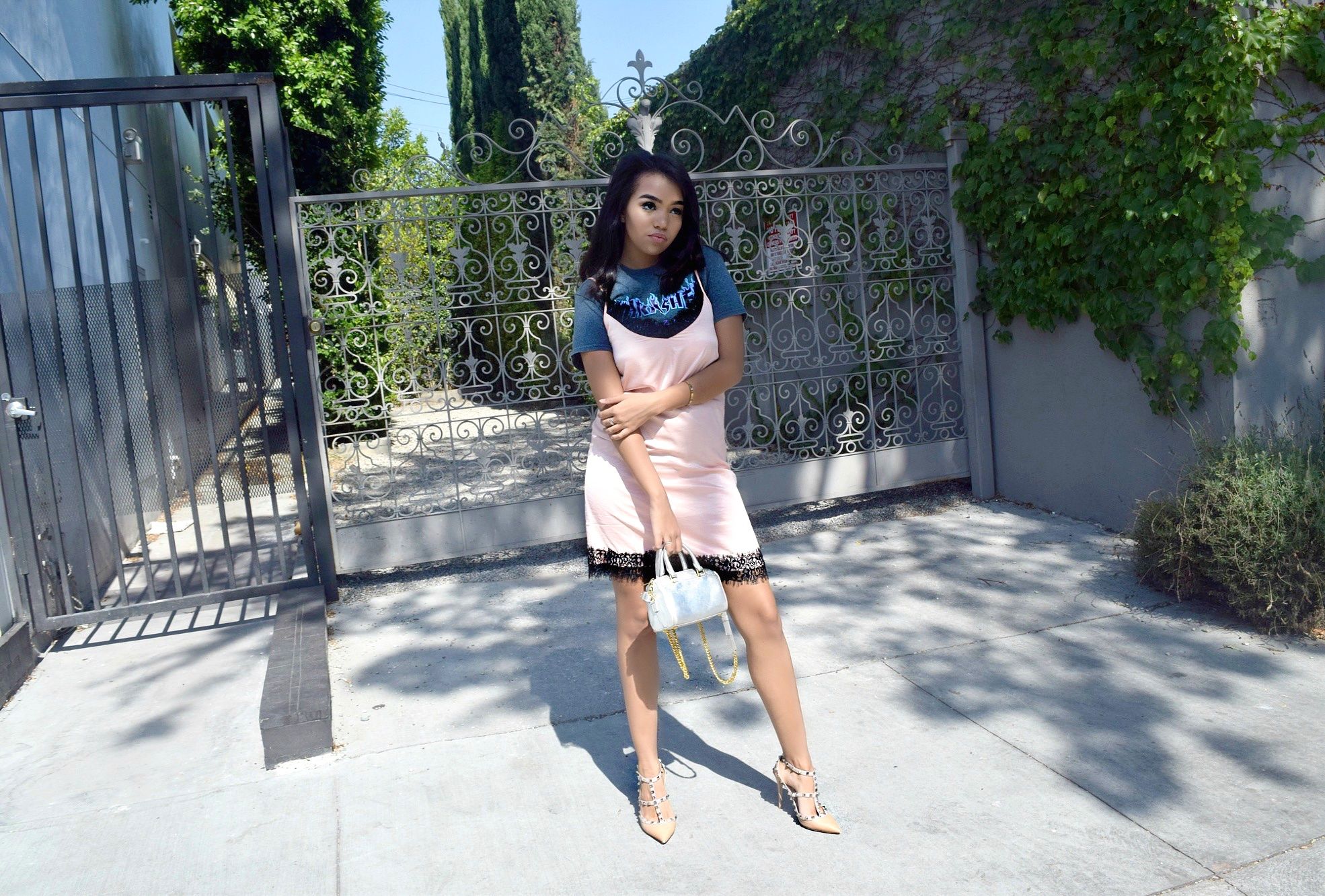 Valentino Rockstuds // Thrasher Tshirt + Slip Dress // Los Angeles Blogger // Summer Street Style: To Style, With Love