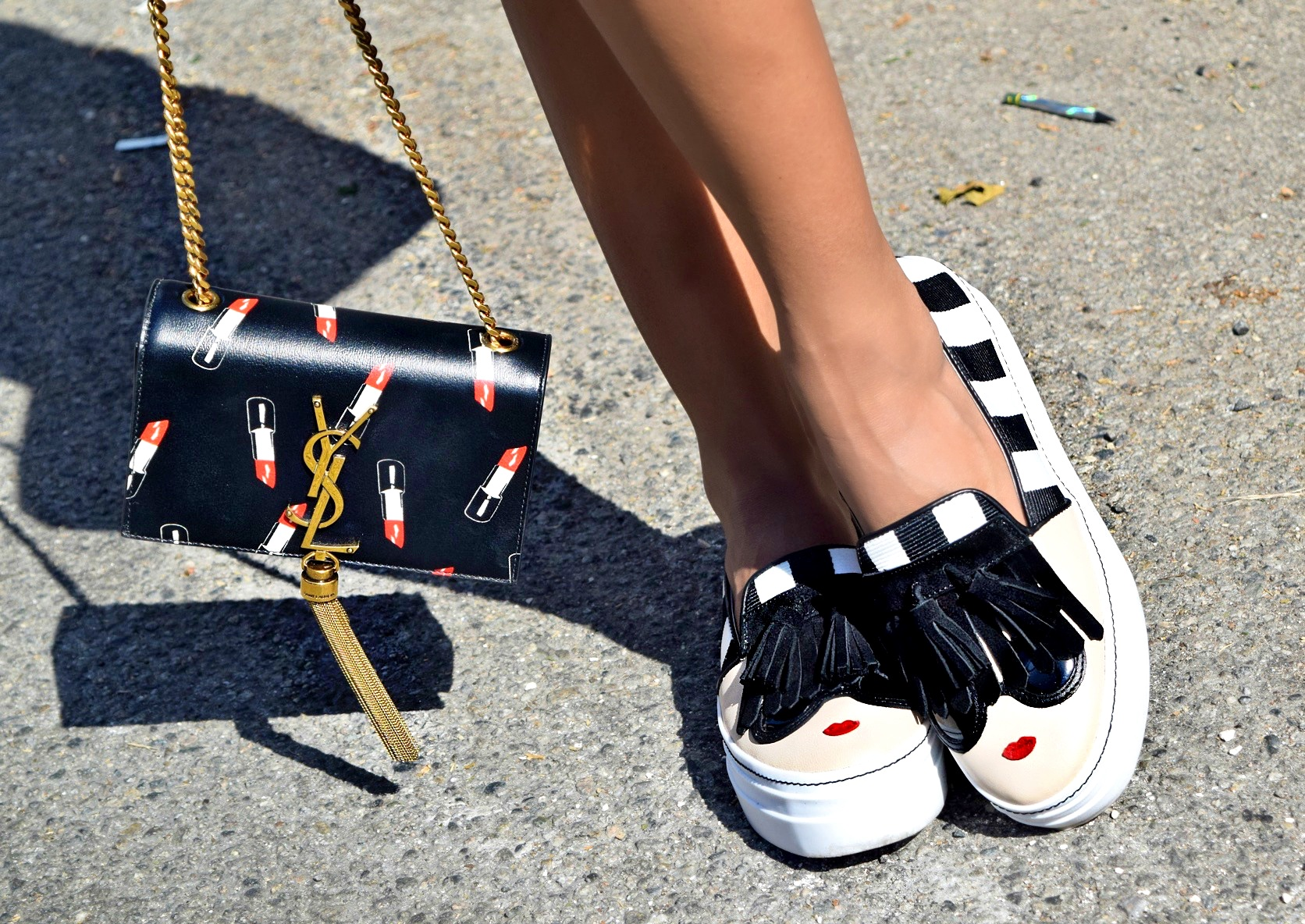 Saint Laurent Lipstick Bag and Alice + Olivia Stacey Sneakers Details Shot: To Style, With Love