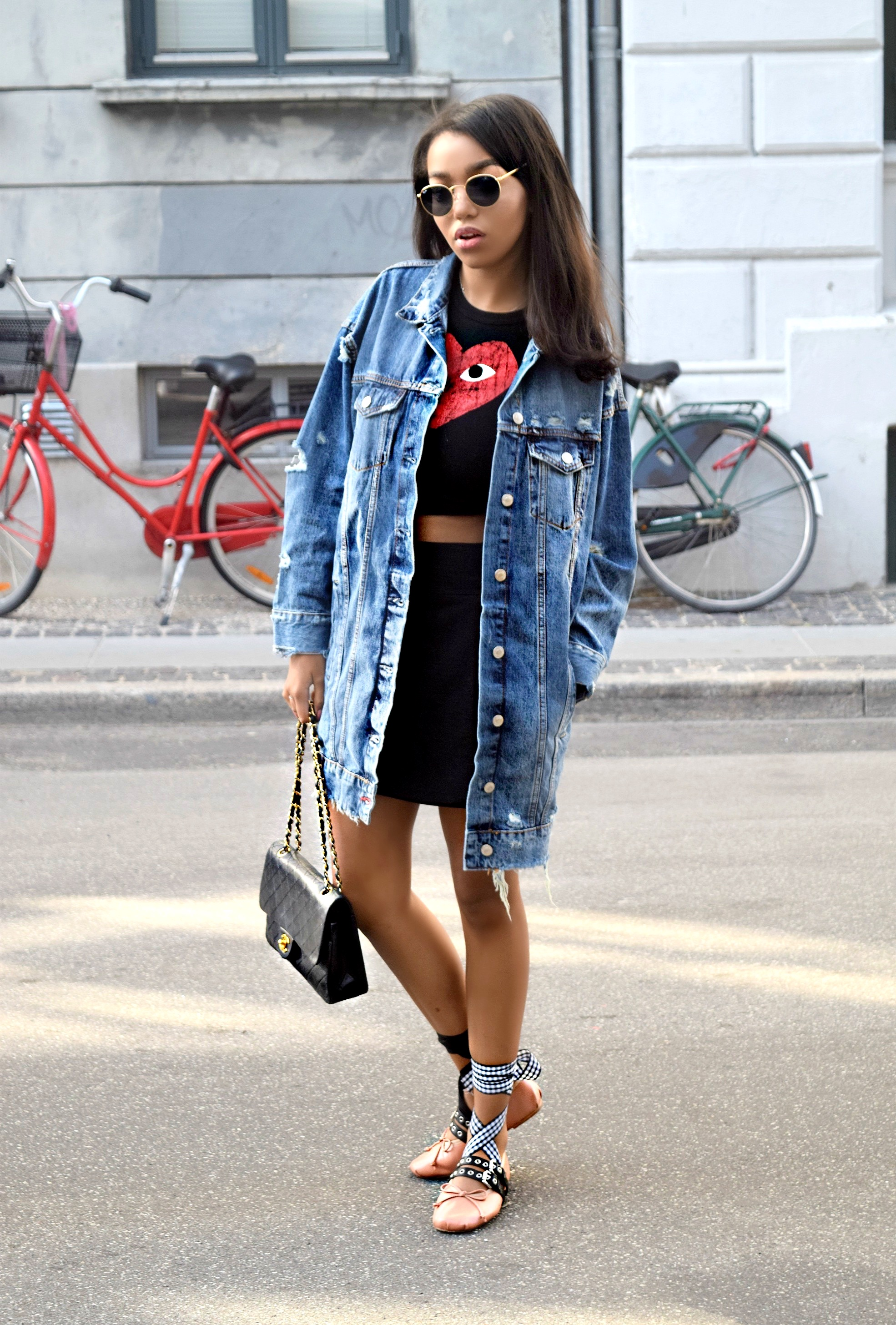 Copenhagen Denmark // Chanel Flap Bag // Los Angeles Fashion Blogger Daphne Blunt // Commes Des Garcons // Denim Zara // Miu Miu Ballet Ballerina Flats: To Style, With Love