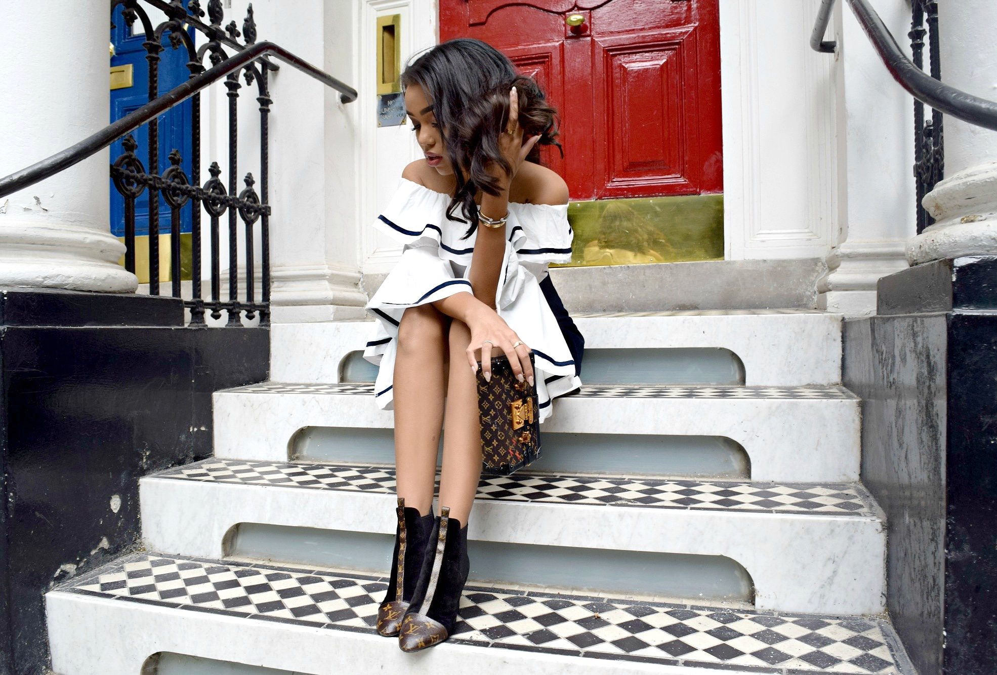 All In Love In All LV // Storets off the shoulder Blouse and Navy Wrap Skirt // Louis Vuitton Petit Malle Bag and Monogram Ankle Booties // London England Europe Travel Diary // Los Angeles Fashion Blogger Daphne Blunt: To Style, With Love