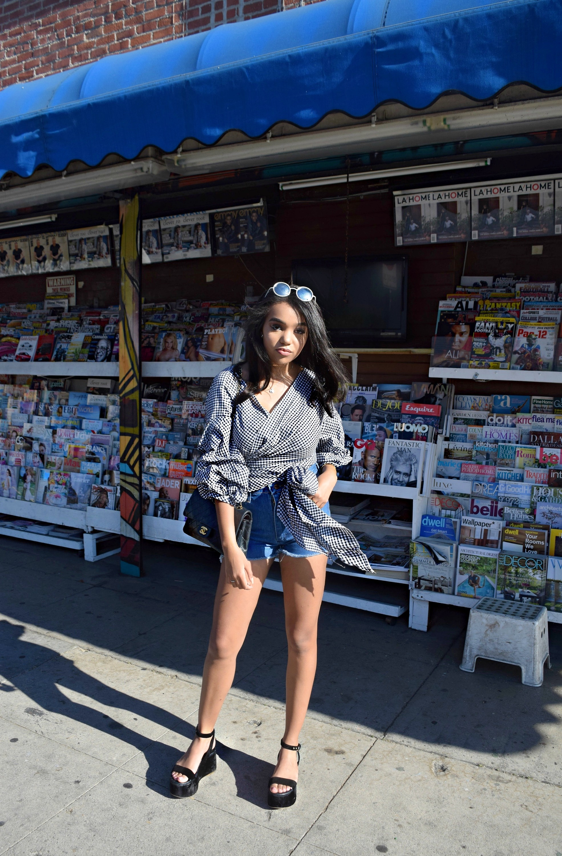 Denim Shorts // Storets Top // Chanel Platforms, Sunglasses & Classic Flap Bag // Summer Street Style // Los Angeles Fashion Blogger Daphne Blunt: To Style, With Love