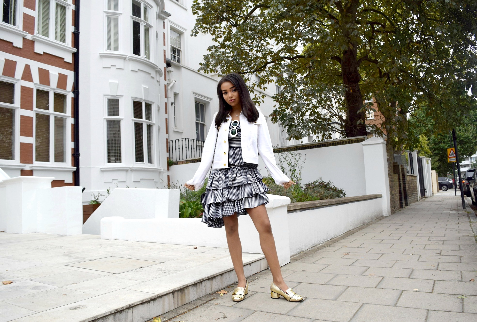 Abbey Road, London Town // Intermix Gingham Set // Derek Lam 10 Crosby Jacket // Gold Gucci Loafers // Chanel Flap Bag // Acne Mustang Sunglasses // London England Travel Diary LFW // Los Angeles Fashion Blogger Daphne Blunt: To Style, With Love
