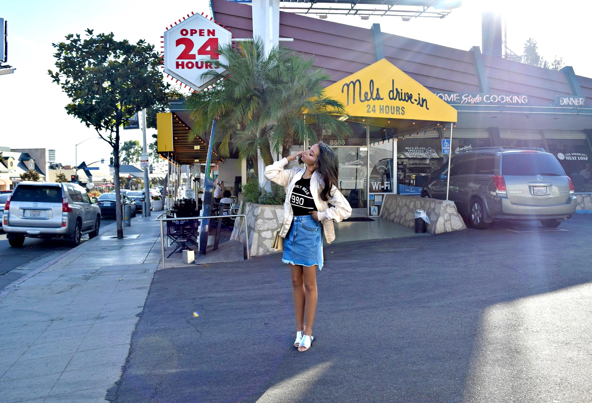 Americana Sunset on Sunset Blvd // Boohoo.com outfit // Frayed Denim Skirt // Metallic Mules Slides // Celine Trio Crossbody // Champagne Bomber Jacket // Los Angeles Fashion Blogger Daphne Blunt: To Style, With Love