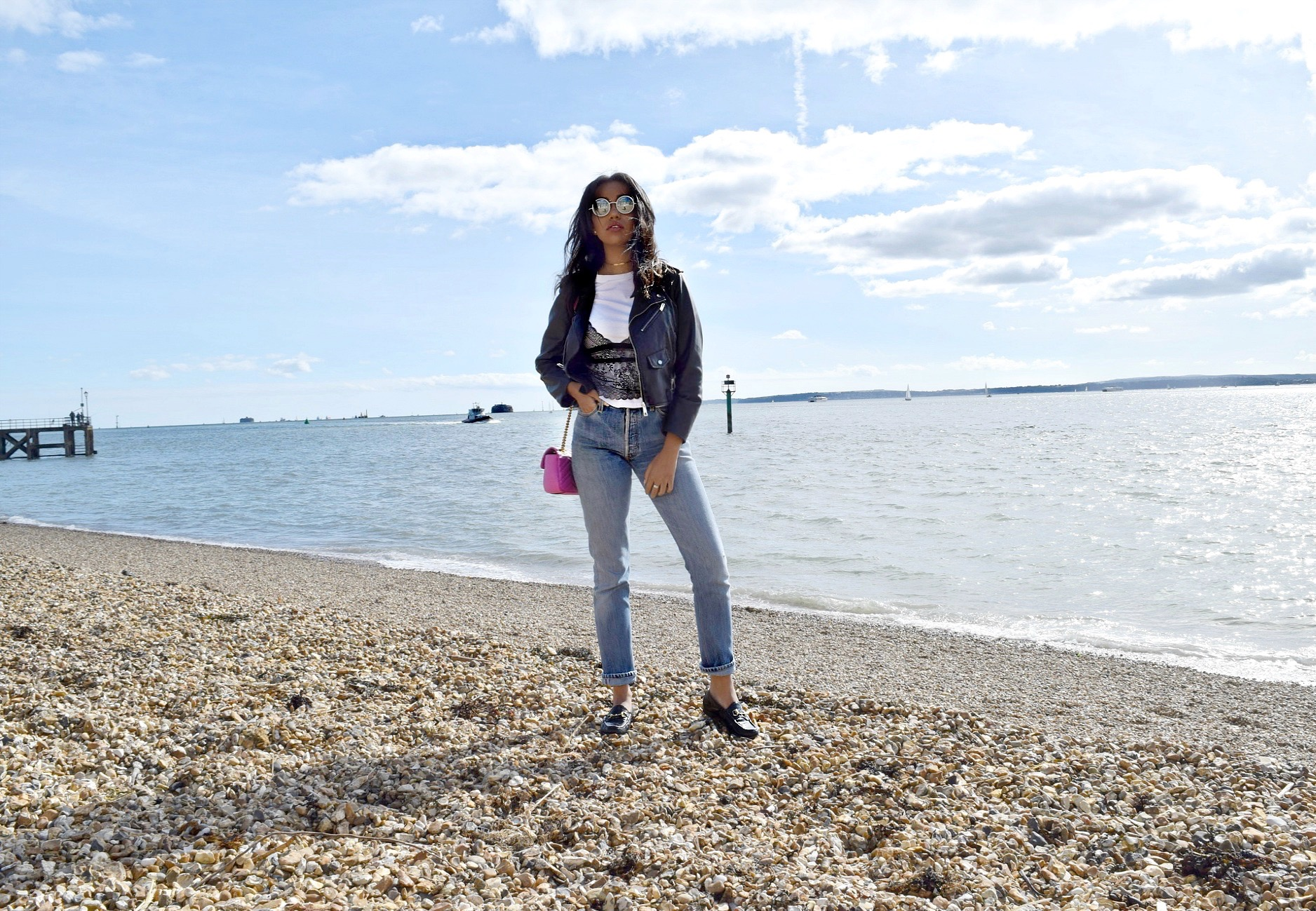 Old Portsmouth // London, England Travel Diary // Re Done Ass Rip Jeans // Lace Layered Tshirt // Gucci Patent Leather Loafers // Gucci GG Pink Marmont Bag // Chanel Pearl Sunglasses // Zara Leather Jacket // Los Angeles Fashion Blogger Daphne Blunt: To Style, With Love