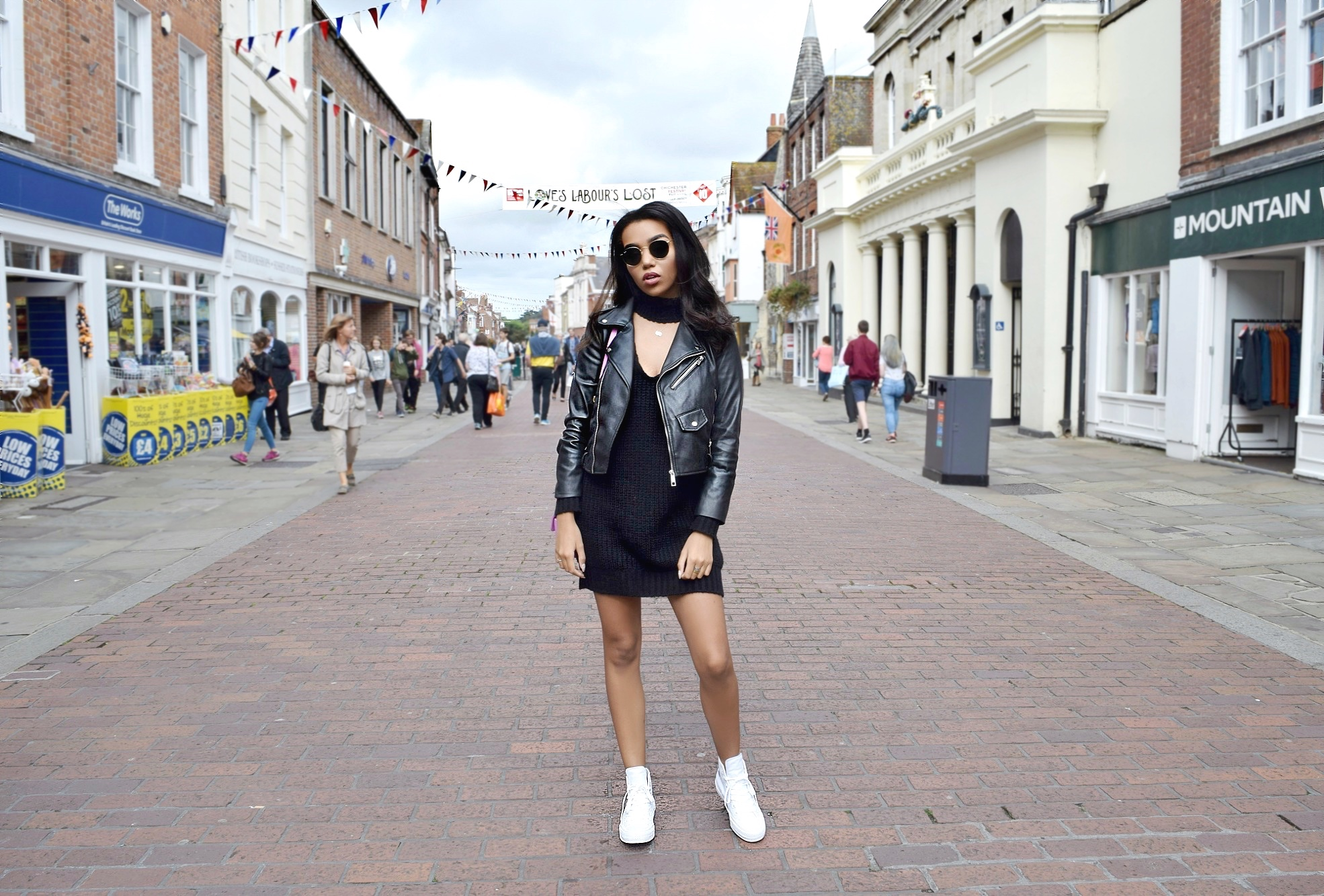Chichester England // London England Europe Travel Diary // Zara Leather Jacket // Boohoo Sweater Choker Dress #myboohoostyle // Pink Gucci Marmont Bag // White Converse & Round Ray Bans // Los Angeles Fashion Blogger Daphne Blunt: To Style, With Love