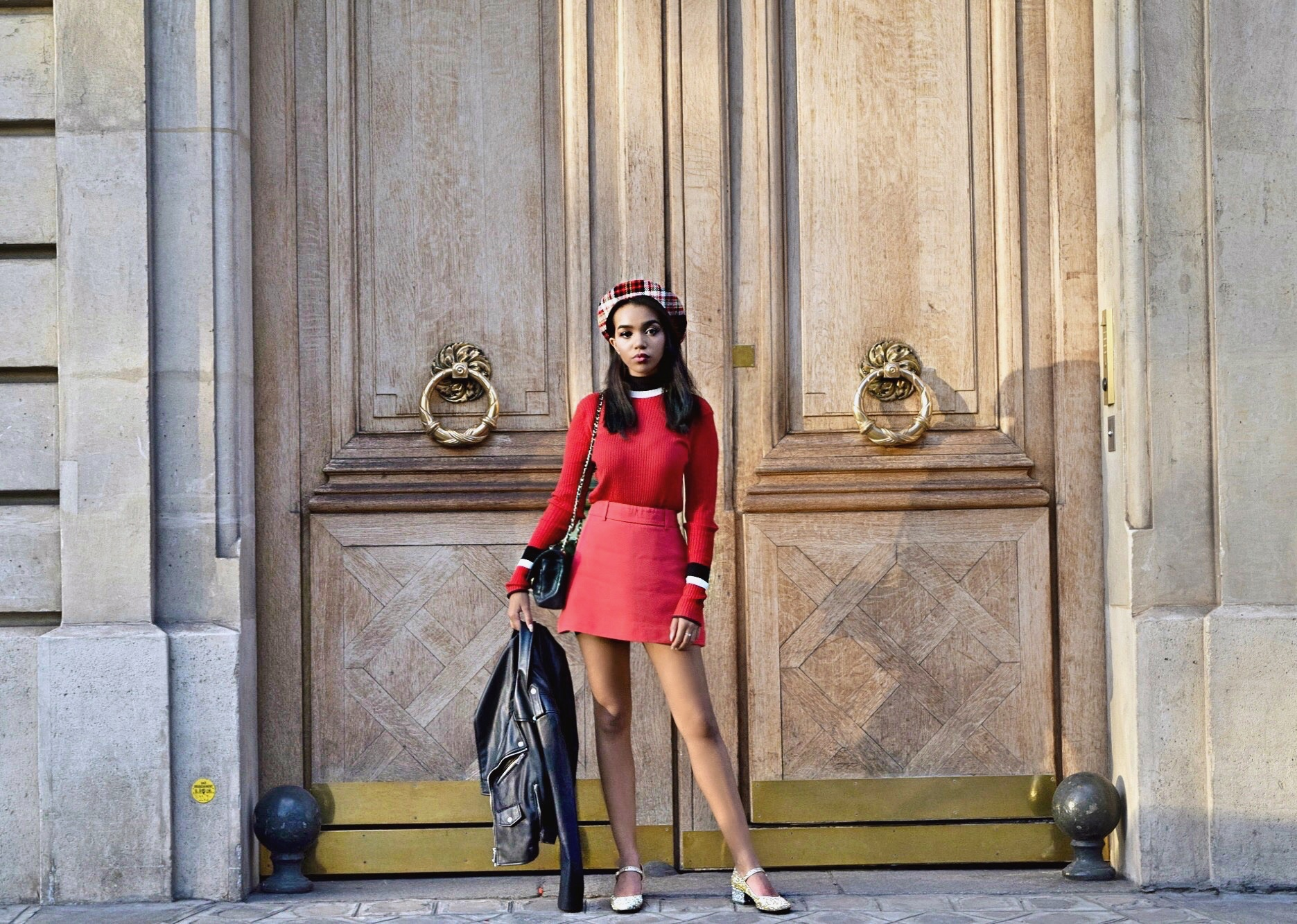 Bonjour Paree // Paris Day 1 Travel Diary // The Eiffel Tower // Red Zara Sweater + Red Miu Miu Mini Skirt // Saint Laurent Glitter Mary Janes // Zara Leather Motorcycle Jacket // Prada Plaid Beret // Chanel Classic Black Flap Bag // Los Angeles Fashion Blogger Daphne Blunt