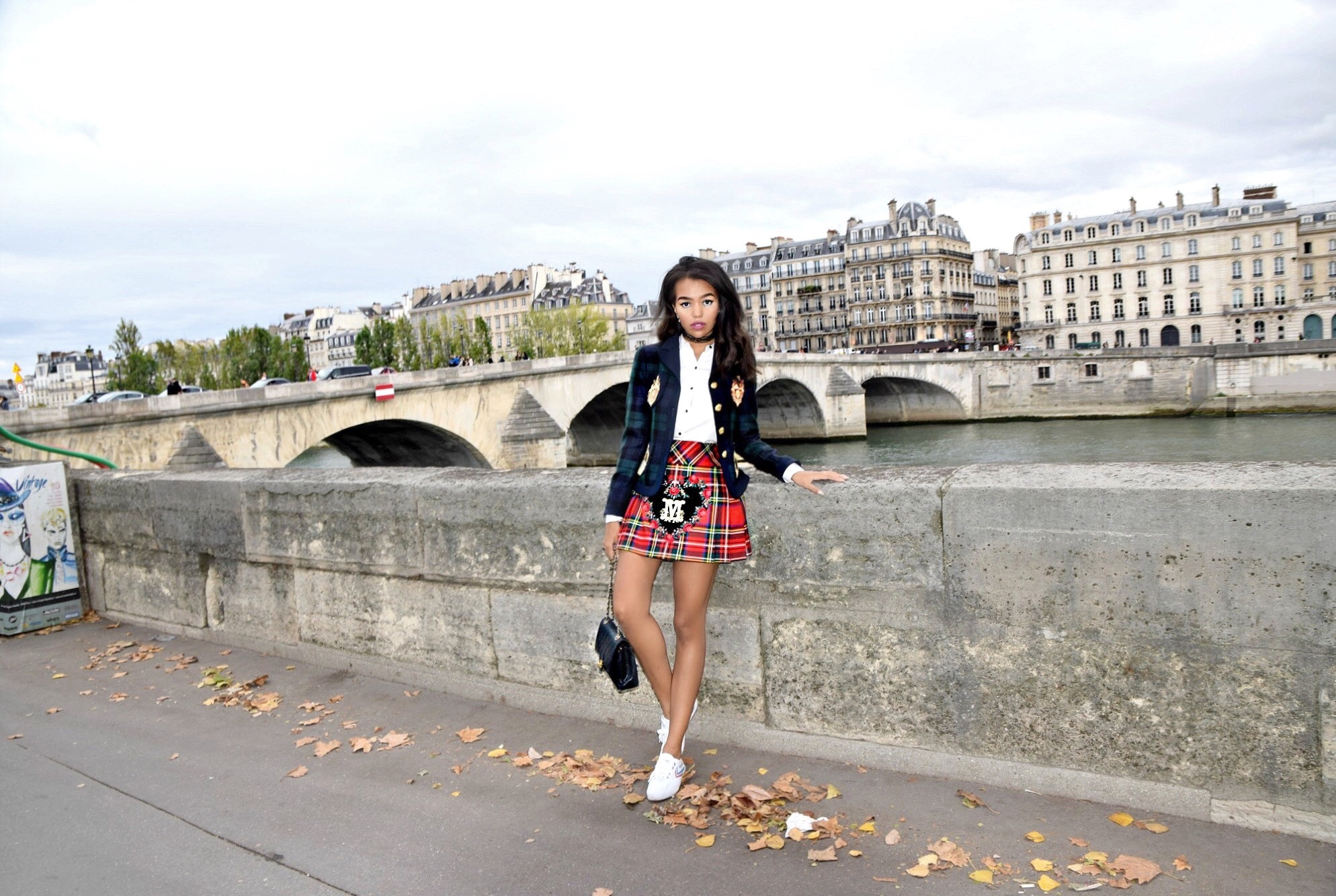 Moschino A/W 13 // Paris Travel Diary // Moschino Plaid Blazer Jacket & Pleated Skirt // Frame White Blouse // Feiyue Sneakers // Chanel Classic Flap Bag & CC Earrings // Los Angeles Fashion Blogger Daphne Blunt: To Style, With Love