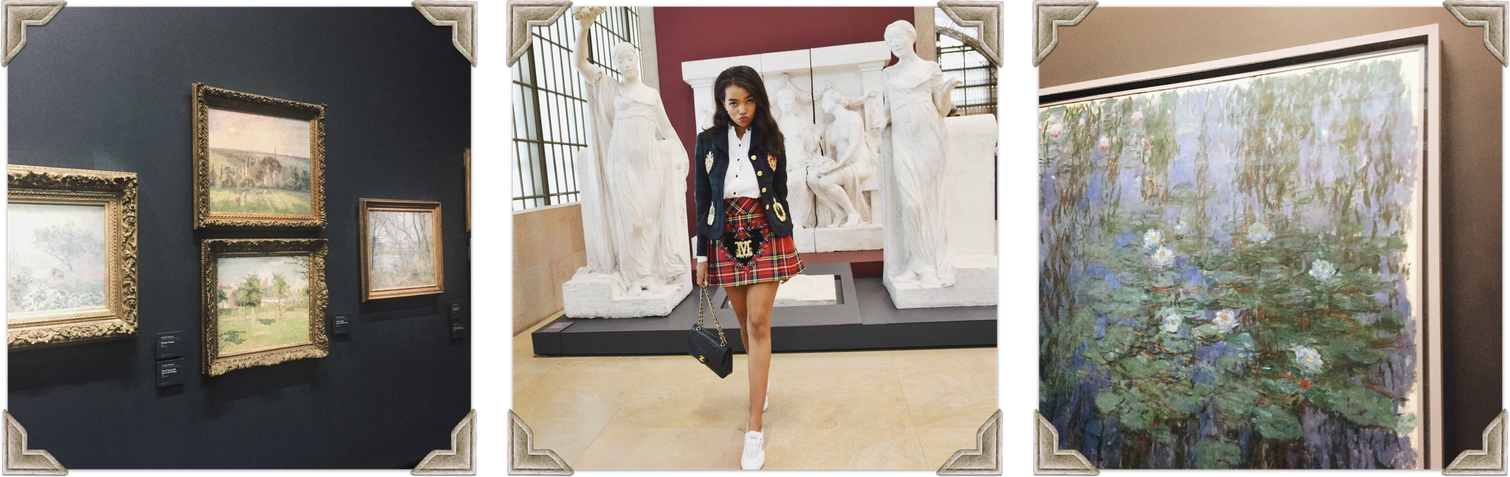 Musee d'orsay Paris // Moschino A/W 13 // Paris Travel Diary // Moschino Plaid Blazer Jacket & Pleated Skirt // Frame White Blouse // Feiyue Sneakers // Chanel Classic Flap Bag & CC Earrings // Los Angeles Fashion Blogger Daphne Blunt: To Style, With Love
