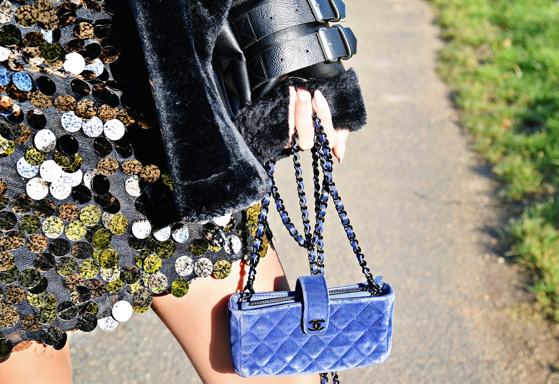 The Holiday Season // Blue Velvet Chanel Wallet On Chain // Motel Finn Sequin Gold and Black Dress // Acne Studios Shearling Coat // Gucci Pearl Ankle Booties // Frame White Button Up // Rhinestone Choker // Los Angeles Fashion Blogger Daphne Blunt // Empure France, The Charante Region // France Travel Diary // Winter Fashions // Holiday Party Dresses: To Style, With Love