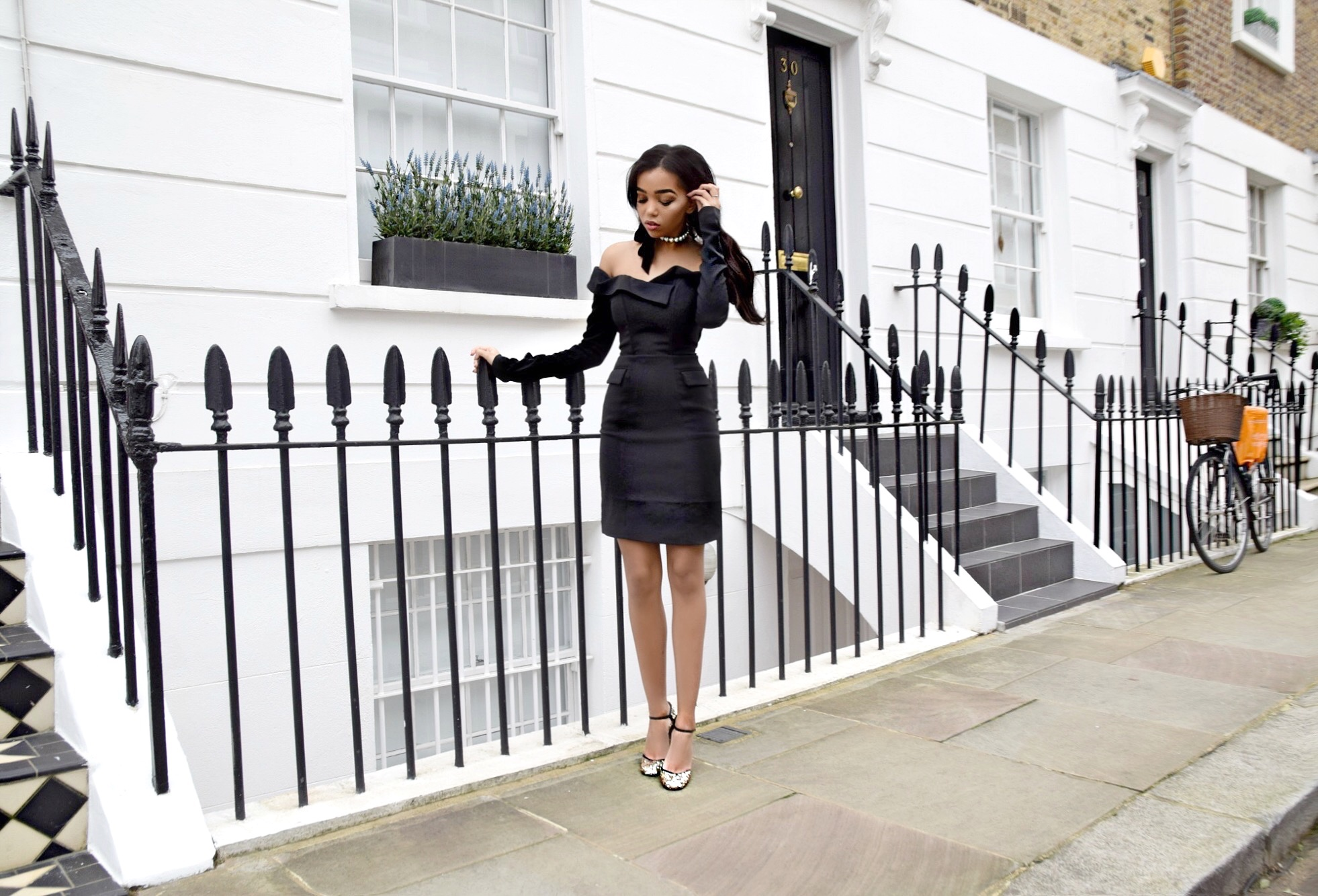Party Ready with Nylon Shop // Lavish Alice Off The Shoulder Dress // Chelsea London England // London England Travel Diary // Gold Sequin Jimmy Choo Mary Janes // Chanel Classic Flap Bag // Lulu Frost Pearl and Velvet Bow Choker // Los Angeles Fashion Blogger Daphne Blunt: To Style, With Love