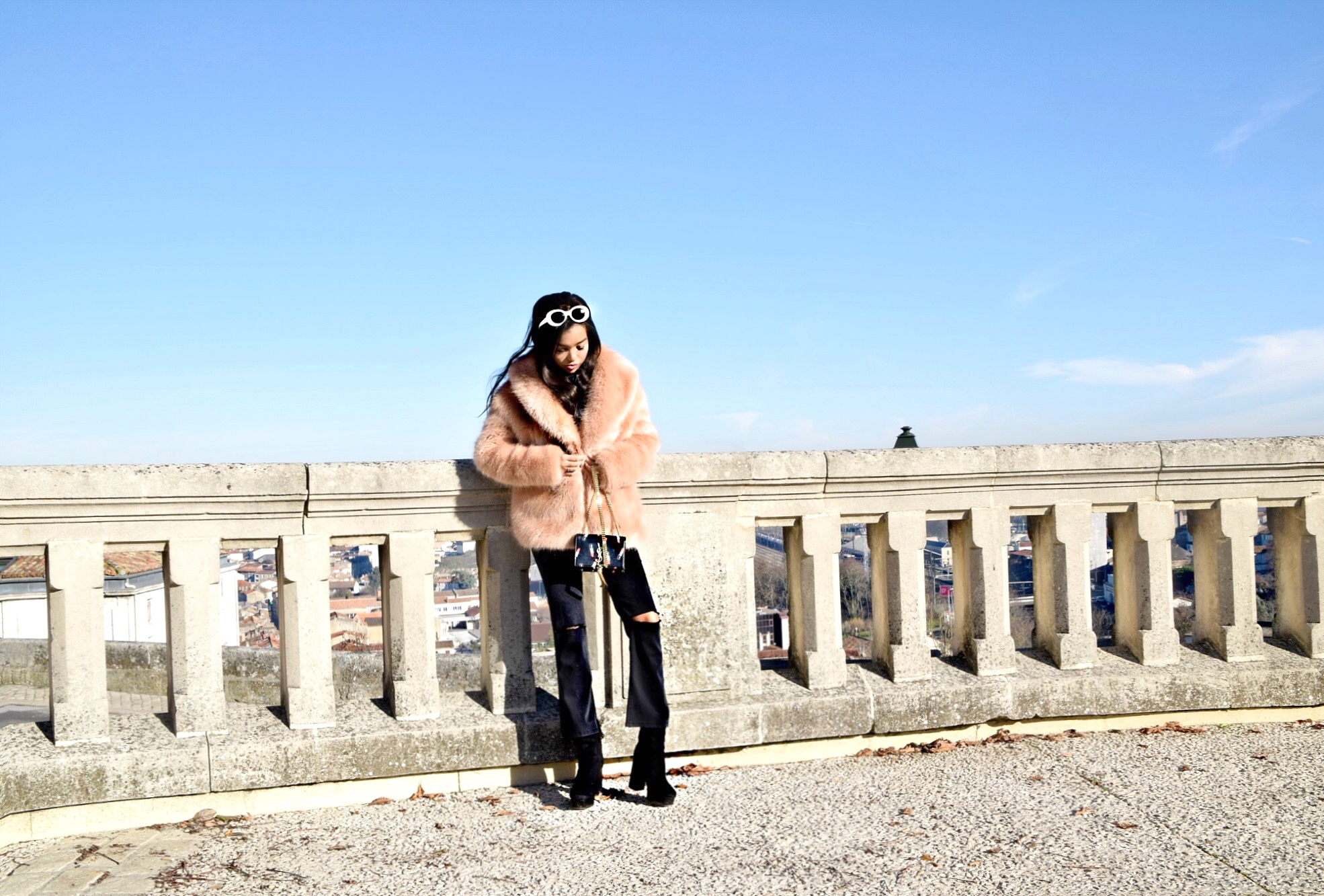 Angouleme France, The Charante Region // The French Countryside // France Travel Diary // Opening Ceremony Pink Fur Cardigan Coat // Joe's Jeans Ripped Black Cropped Flares // Frame Denim White Button Up Blouse // Acne Studios White Mustang Round Sunglasses // Public Desire Black Platform Booties // Saint Laurent Lipstick Print Gold Chain Crossbody Bag // Los Angeles Fashion Blogger Daphne Blunt: To Style, With Love