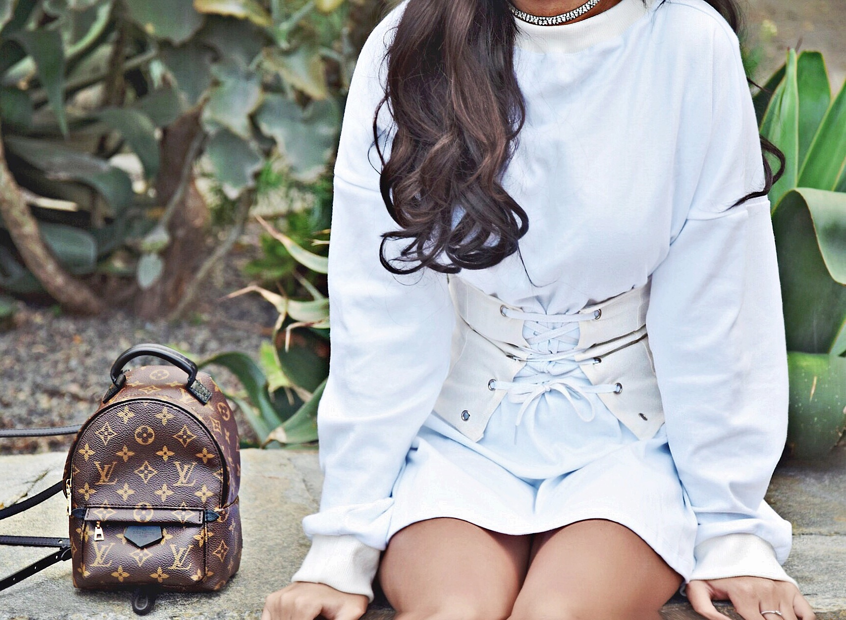 Lace It Up   The Corset Trend // My Mum Made It Sweatshirt Dress & White Corset Belt // Rhinestone Choker // Louis Vuitton Monogram Print Mini Backpack // Jeffrey Campbell Lace Up Heeled Booties // Los Angeles Fashion Blogger Daphne Blunt: To Style, With Love