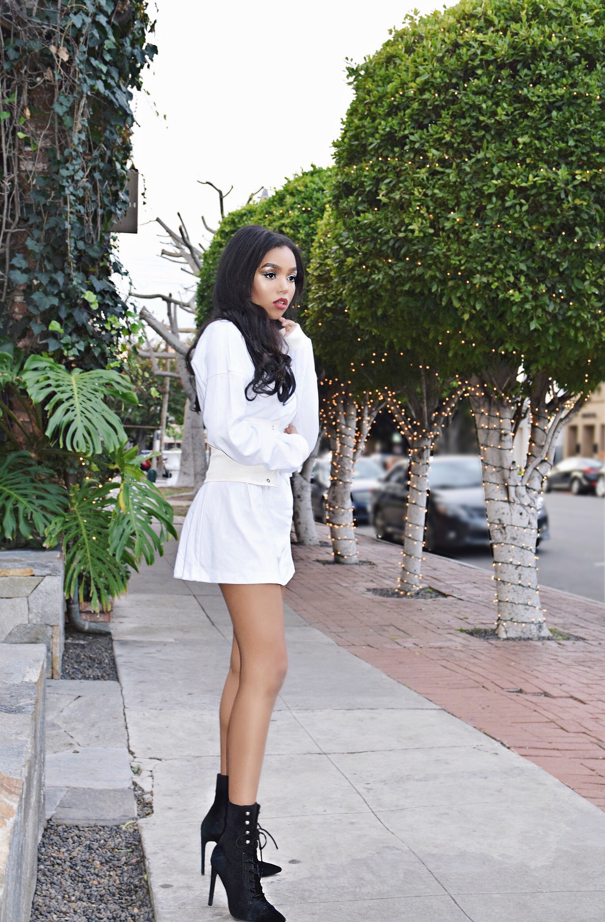 Lace It Up | The Corset Trend // My Mum Made It Sweatshirt Dress & White Corset Belt // Rhinestone Choker // Louis Vuitton Monogram Print Mini Backpack // Jeffrey Campbell Lace Up Heeled Booties // Los Angeles Fashion Blogger Daphne Blunt: To Style, With Love