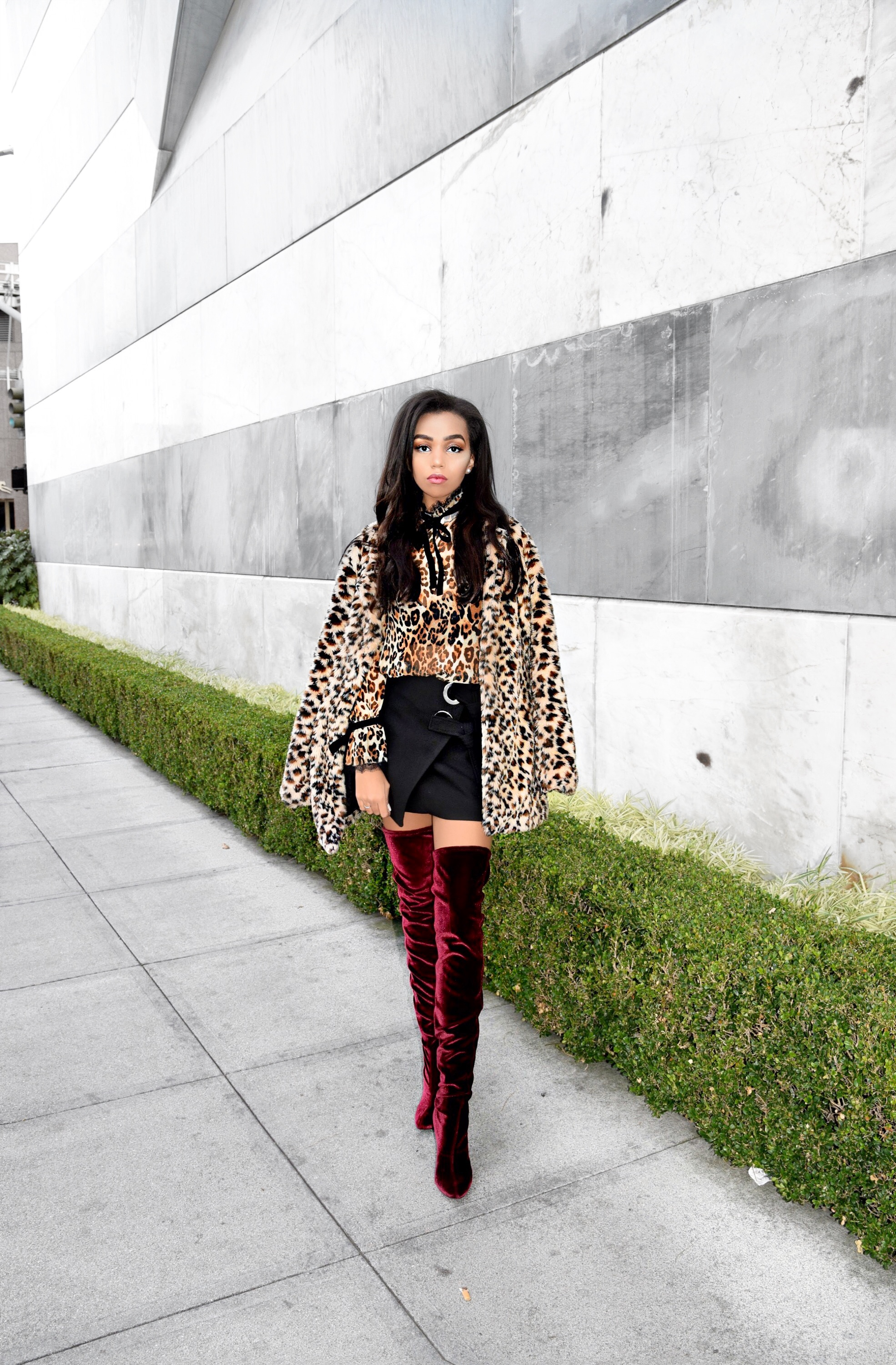 Cheetah Girl(s) // The Leopard & Cheetah Print Trend // Intermix Exclusive Leopard Print and Velvet Blouse // Zara Wrap Black Mini Skirt // Zara Velvet Thigh High Burgundy Bordeaux Wine Color Boots // Gucci Marmont Black Quilted Bag // ASOS Leopard Cheetah Print Fur Textured Coat // Winter and Spring Street Style // Los Angeles Fashion Blogger Daphne Blunt: To Style, With Love