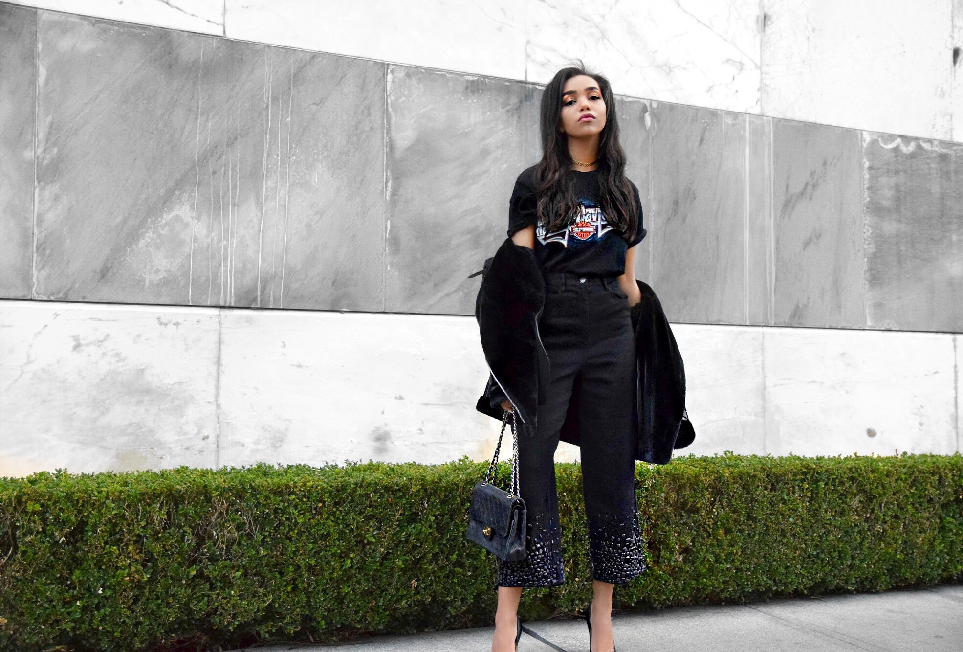 How To Pretend You're Cool // Black Sleek Street Style & Personal Style Look // Vintage Harley Davidson T Shirt // Tibi Embellished Bottom Culottes Jeans Denim // Acne Studios Shearling Coat // Christian Louboutin Plain Black Pointed Toe Pumps // Chanel Vintage Black Quilted Flap Bag // Are You Am I Chain Link Choker // Los Angeles Fashion Blogger Daphne Blunt: To Style, With Love