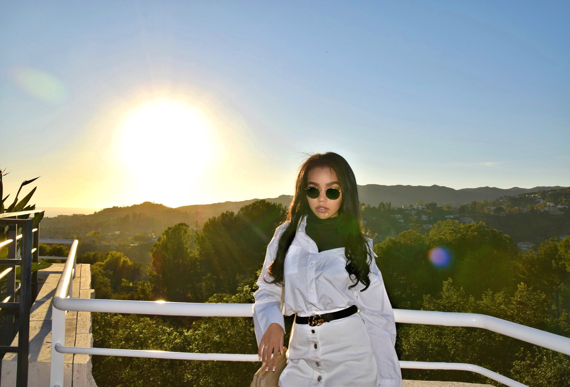 The Getty // Los Angeles California // Storets Off The Shoulder Button Up Blouse // T by Alexander Wang White Denim Skirt // Gucci GG Classic Marmont Belt // Gucci Gold Loafers // Celine Trio Nude Crossbody Bag // Round Ray Ban Sunglasses // Los Angeles Fashion Blogger Daphne Blunt: To Style, With Love