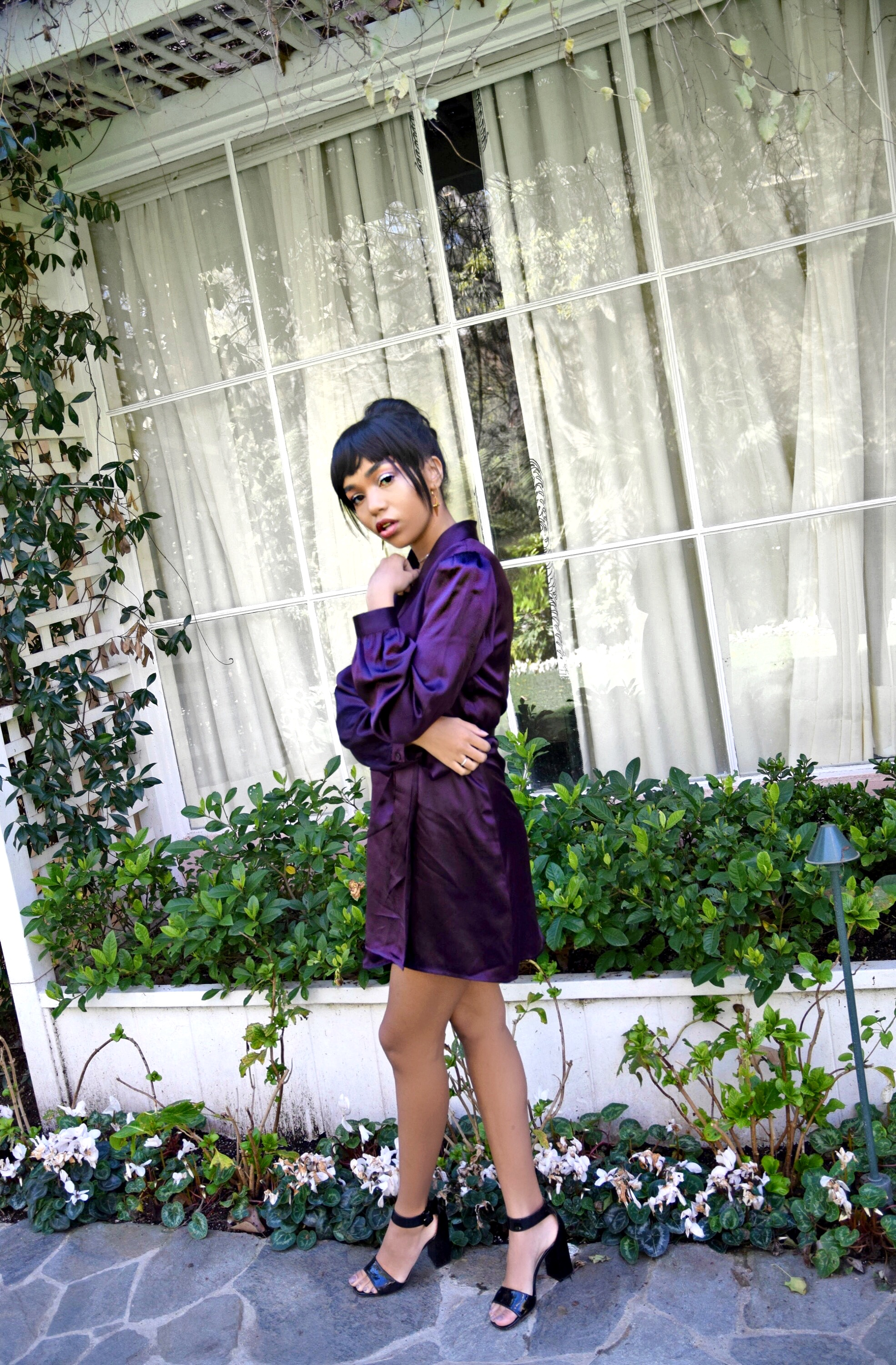 Flower Children // Spring Street Style // Personal Style Look // Purple Reformation Wrap Dress // Vida Kush Golden Rose Layered Necklace & Choker // Luv Aj Cross Hoop Earrings // Prada Black Chunky Heel Sandals // Chanel Acrylic CC Logo Clutch // Los Angeles Fashion Blogger Daphne Blunt: To Style, With Love