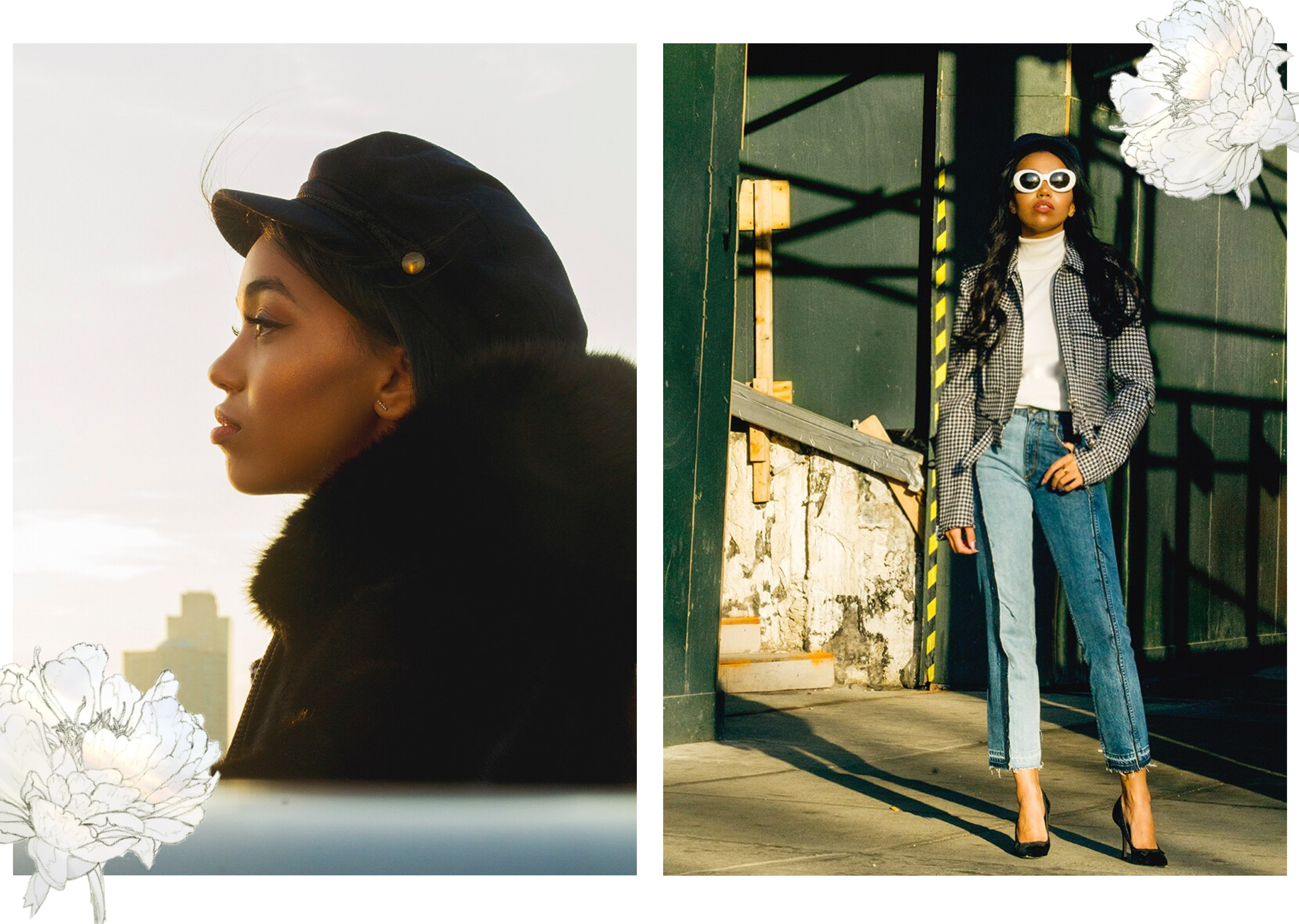Baker Boy Hat Trend // New York Travel Diary // Rag & Bone Two Tone Crop Jeans // ASOS White Turtleneck // J.W. Anderson Cropped Houndstooth Jacket // Velvet Bow Manolo Blahniks // Louis Vuitton Mini Backpack // ASOS Baker Boy Hat // Los Angeles Fashion Blogger Daphne Blunt // Photography by Michael Donovan: To Style, With Love