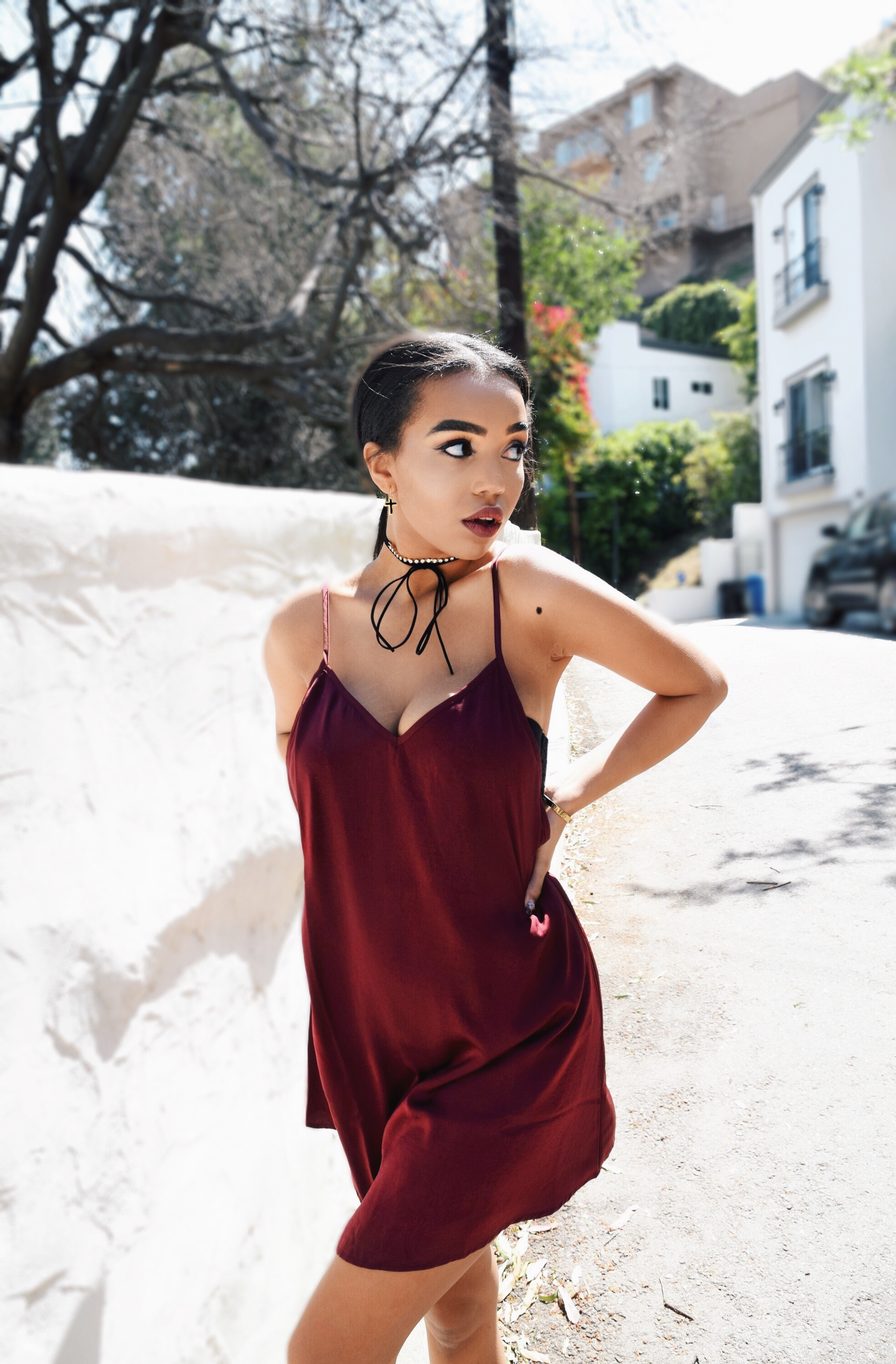 Like Fine Wine // Shop Tobi Burgundy Red Slip Dress // Spring & Summer Style Ideas // Shop Tobi Black Suede & Rhinestone Wrap Choker // Shop Tobi Black & Gold Cross Earrings // Public Desire Lace Up Gold Heeled Sandals // Los Angeles Fashion Blogger Daphne Blunt: To Style, With Love