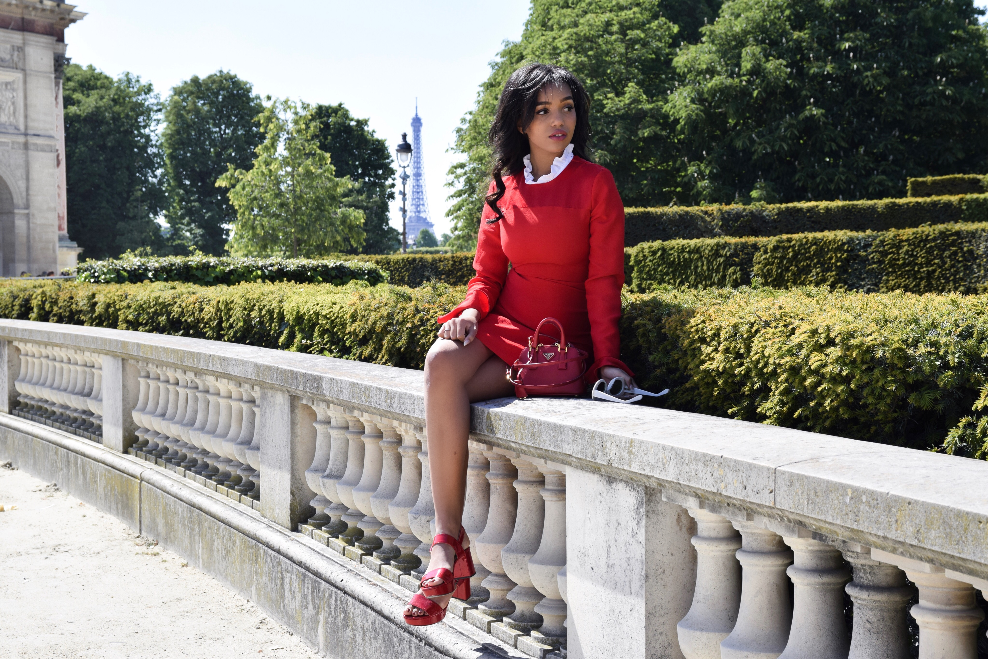 ROUGE // Paris, Palais Royal Instagram Spot Aesthetic // Sandro Red Collar Dress // Red Prada Patent Leather Sandals // Red Prada Crossbody Bag // Acne White Mustang Sunglasses // J.W. Anderson Houdstooth Cropped Jacket // Paris Travel Diary // Los Angeles Fashion Blogger Daphne Blunt: To Style, With Love