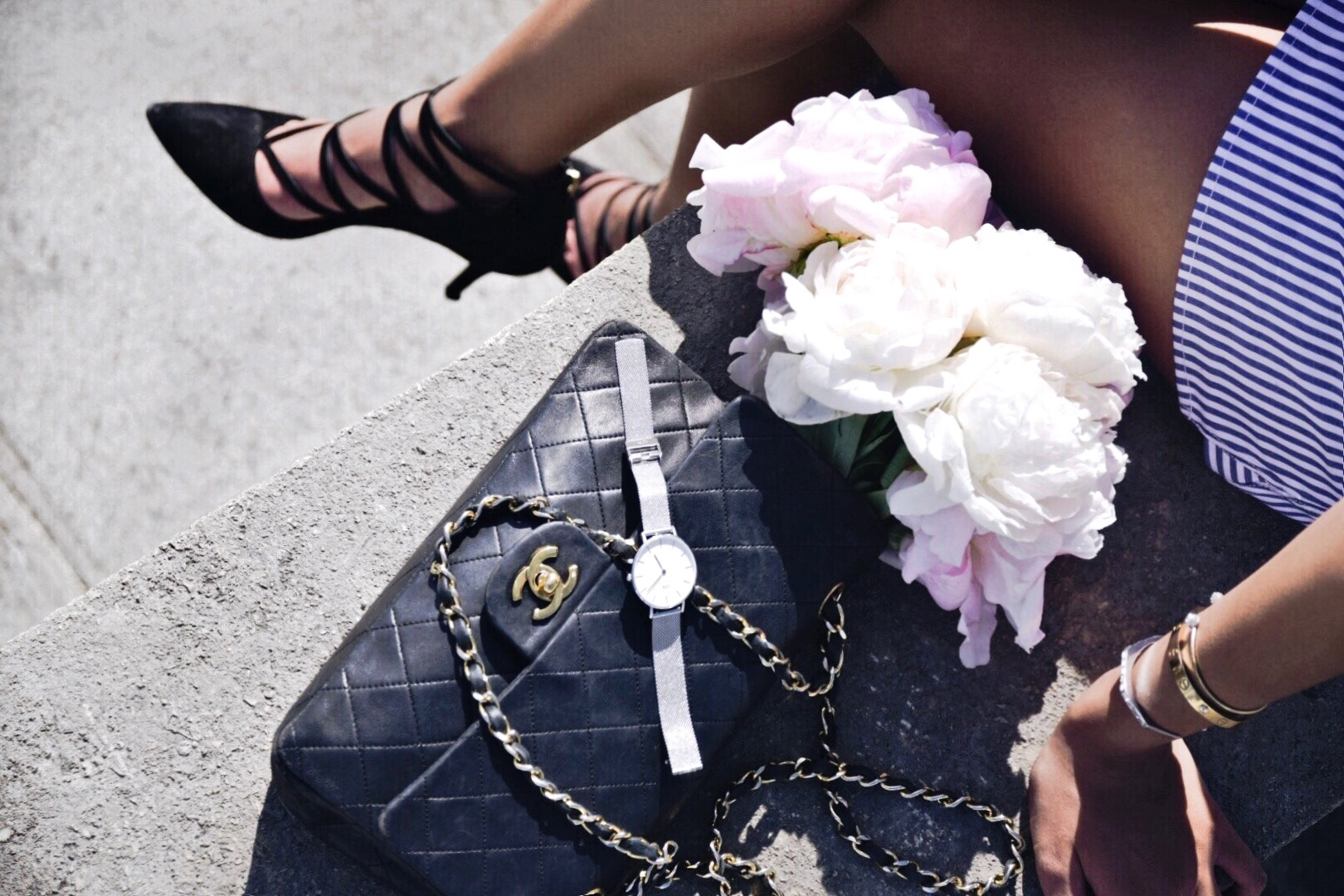 Peonies In Paris // Self Portrait Lace Overlay Striped Mini Dress // Aquazurra Shoes // Chanel Black Classic Flap Bag // Daniel Wellington New Classic Silver Watch // Round Ray Ban Sunglasses // Paris Travel Diary // Los Angeles Fashion Blogger Daphne Blunt // Spring European Street Style Paris: To Style, With Love