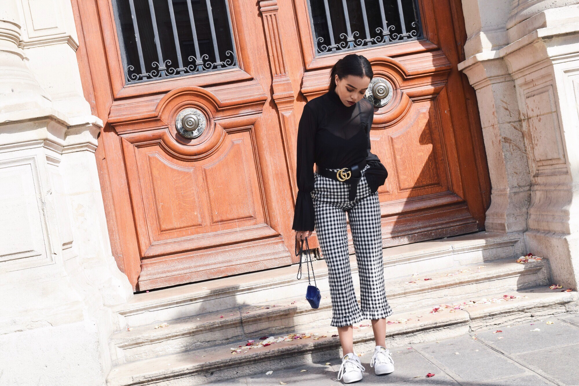 Gingham Frills // Topshop Gingham Frill Cropped Pants // Zara Sheer Bell Sleeve Blouse // Adidas Superstars in Black & White // Chanel Blue Velvet Wallet On Chain // Gucci Double G Gold & Black Belt // Paris Travel Diary // Los Angeles Fashion Blogger Daphne Blunt // Paris Le Marais // Gingham Print Spring Trend: To Style, With Love
