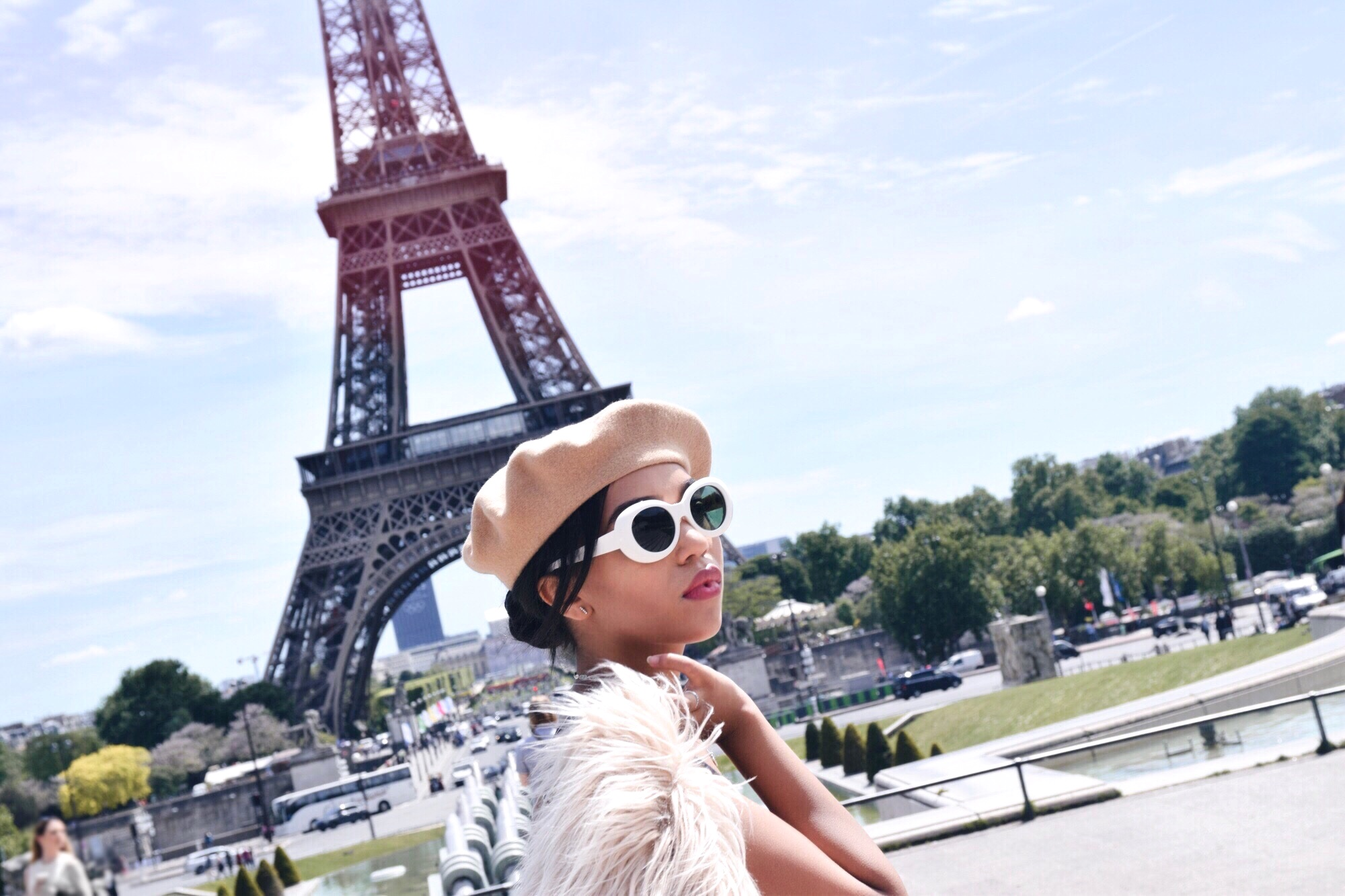 Jardin Du Trocadero // Paris Travel Diary // L'Ecole Des Femme Dress // Lioness Faux Fur Coat // Christian Louboutin Black Suede Pumps // Acne Studios White Mustang Sunglasses // Beige Beret and Parisian Style // Chanel Classic Flap Bag // Los Angeles Fashion Blogger Daphne Blunt: To Style, With Love