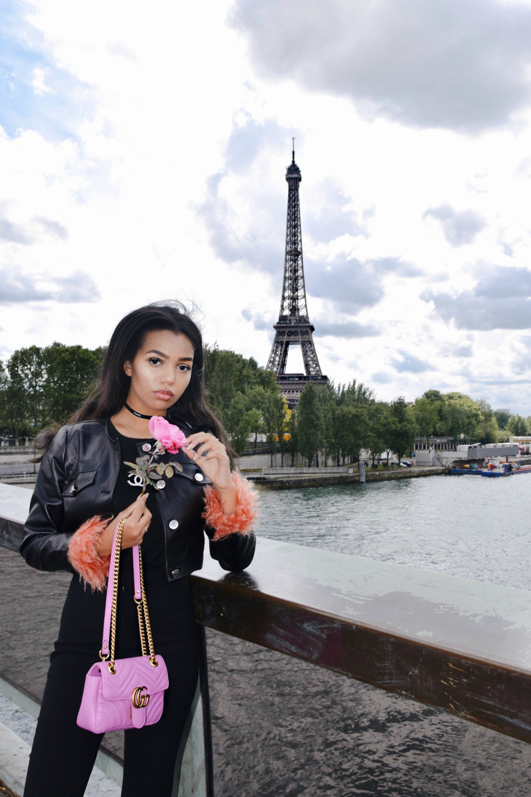 On Top Of The Tour // Paris Travel Diary, The Top Of The Eiffel Tower // Vintage Chanel T-shirt // Pixie Market Oversized Flair Pants // Pink Gucci Marmont Bag // Chanel Ribbon Choker // Pink Fun Faux Fur // Los Angeles Fashion Blogger Daphne Blunt // Spring Street Style // Views From The Eiffel Tower: To Style, With Love
