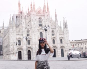 Italian Days Are Here // Milan, Italy Travel & Style Diary // Los Angeles Fashion Blogger Daphne Blunt // Gingham Spring Trends // Exploring Milano // H&M Gingham Ruched Skirt // Gucci Logo T-shirt // Chanel Flatform Sandals // Louis Vuitton Mini Monogram Backpack // Crap Eyewear Red Cateye Sunnies // Baker Boy Hat Trend // Milan Duomo City Center: To Style, With Love