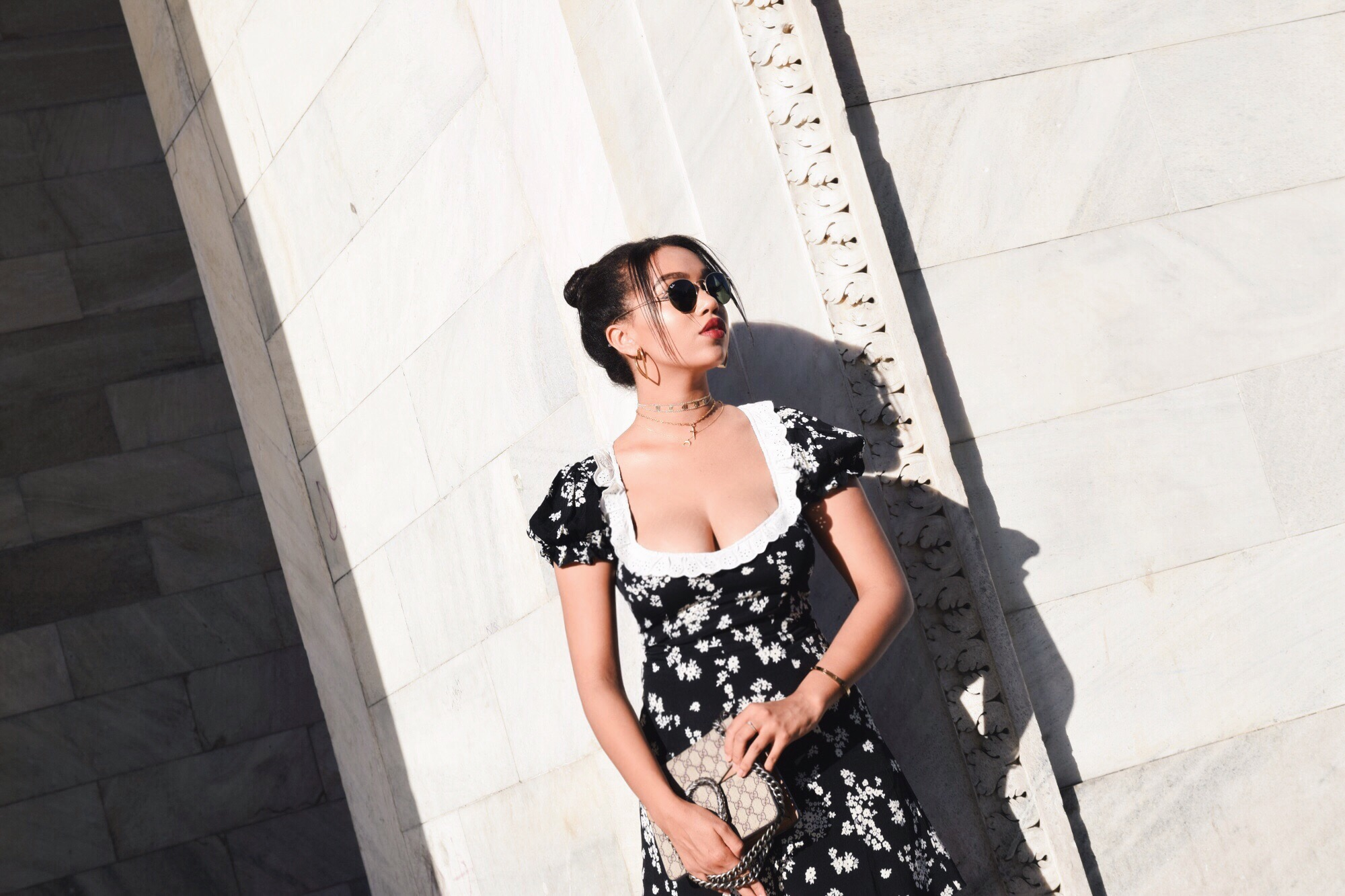Arco Della Pace - Milan, Italy // For Love and Lemons Dolce Dress // Gucci Princetown Fur Slippers // Gucci Dionysus Nude Bag // The M Jewelers Monogram Choker // Nars Red Lipstick // Los Angeles Fashion Blogger Daphne Blunt Travel Diary: To Style, With Love