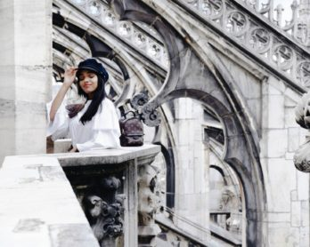 The Milan Duomo Terraces // Milan, Italy Travel Diary // Los Angeles Fashion Blogger Daphne Blunt // Spring/Summer Outfit Of The Day // Flare Pants by Pixie Market // H&M Tiered Sleeve Top // Baker Boy Hat Trend // Adidas Originals Sneakers // Louis Vuitton Palm Springs Monogram Mini Backpack // Miu Miu Embellished Sunglasses: To Style, With Love