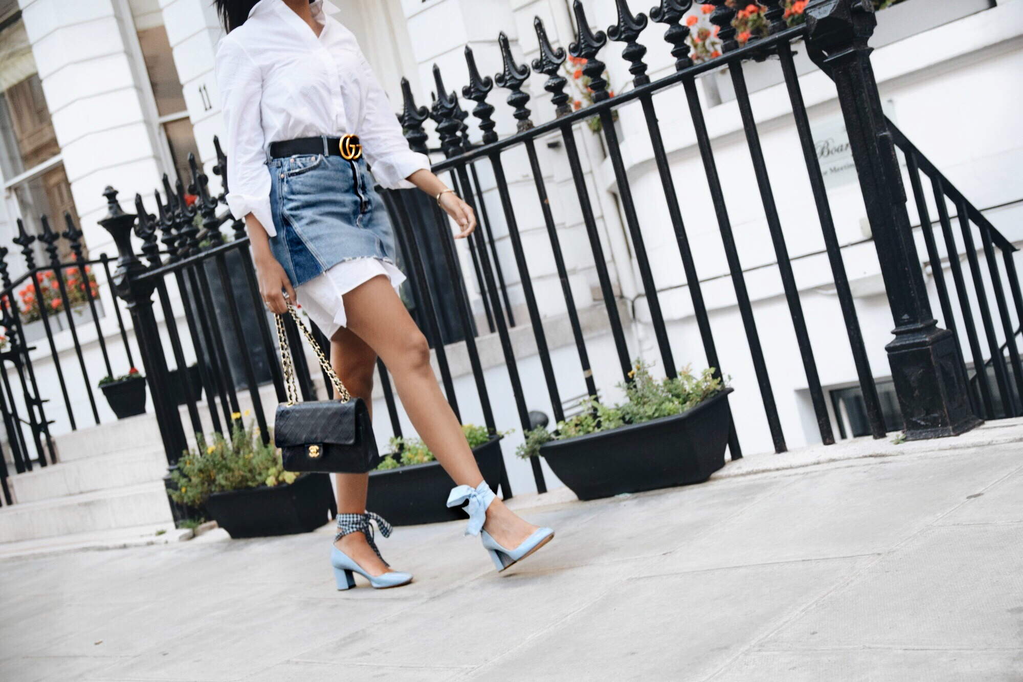 Back In London Town // London Travel Diary // Los Angeles Fashion Blogger Daphne Blunt // GRLFRND Denim Skirt // Acne Shirt Dress // Miu Miu Pastel Blue Gingham Wrap Mid Heels // Gucci Marmont Belt // Chanel Classic Flap Bag: To Style, With Love